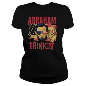 Abraham Lincoln drinking beer American flag independence day shirt