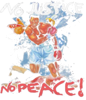 Black leather boxing no justice no peace butterfly bee shirt