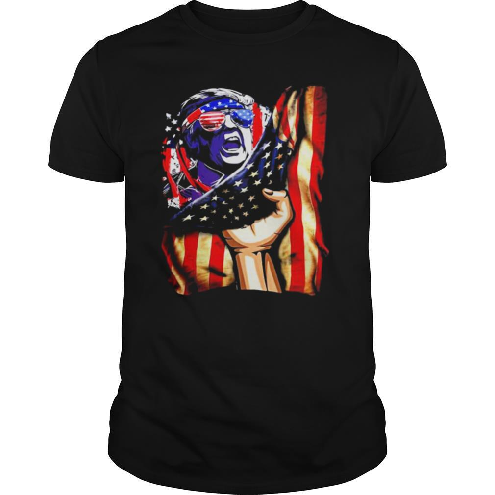 Independence Day Trump glasses flag america shirt