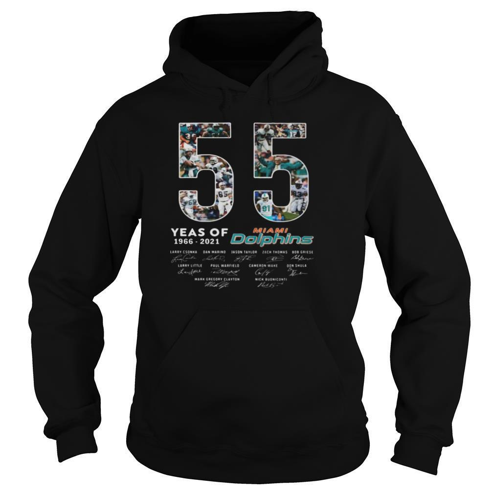 55 years of 1966 2021 miami dolphins signatures shirt