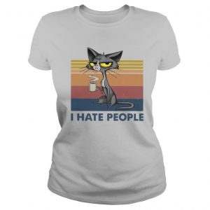 Cat Drinking Coffee I Hate People Vintage shirt