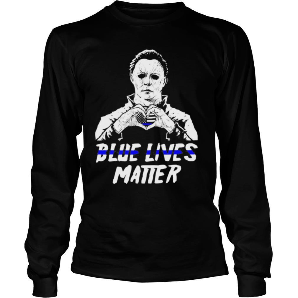 Halloween michael myers blue lives matter heart american flag independence day shirt