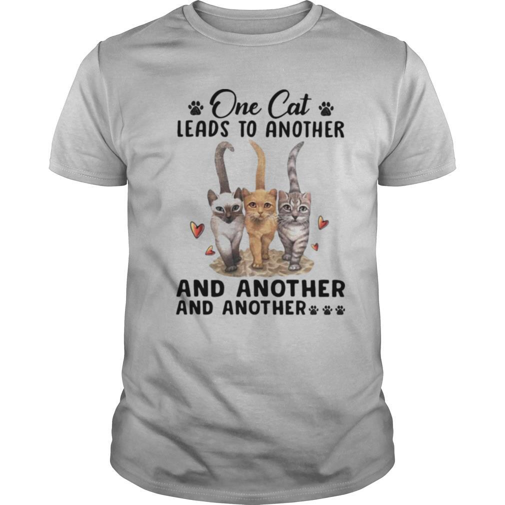 One cat leades to another and anotther and anotther shirt footprint heart shirt