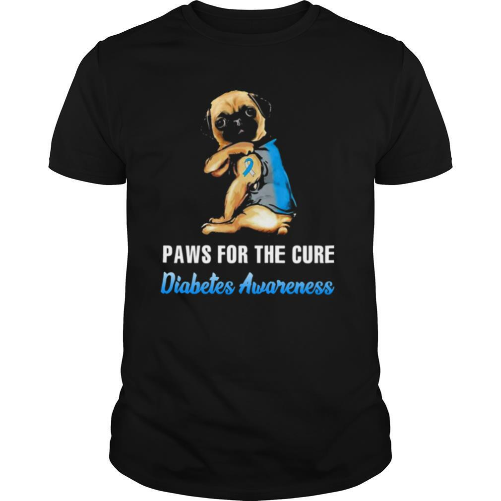 Paws For The Cure Diabetes Awareness Pug shirt