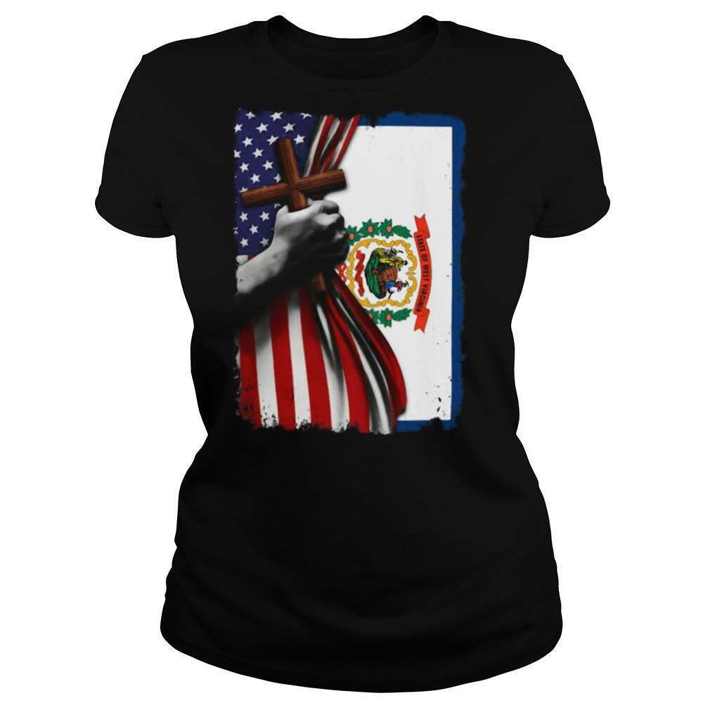 West virginia american flag cross happy independence day shirt