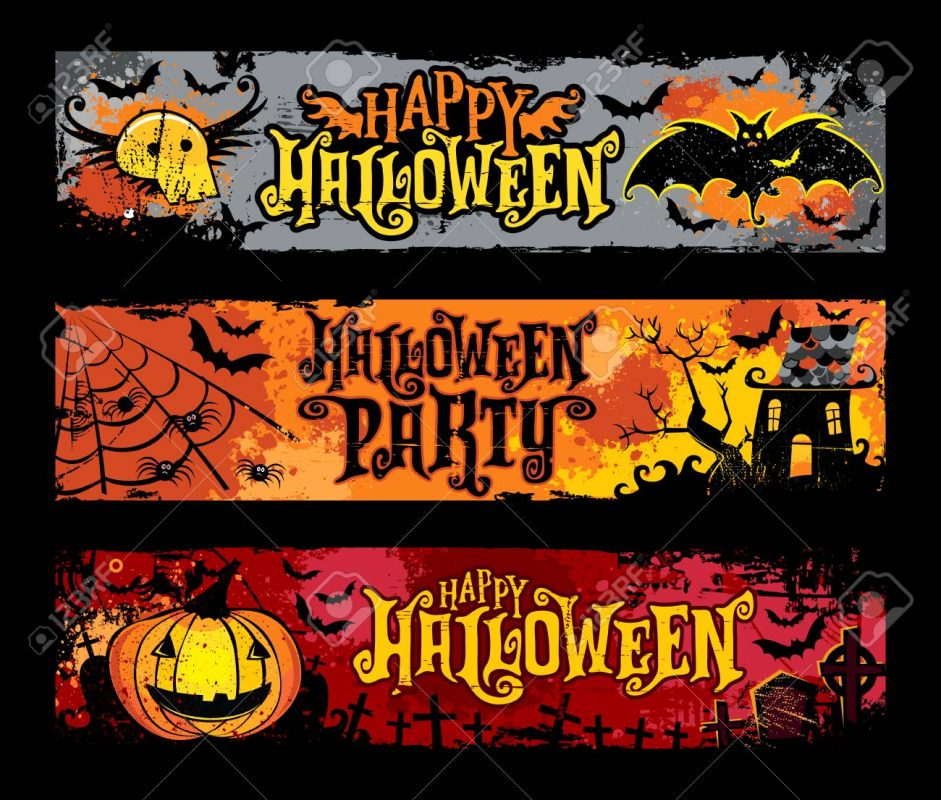 87709625 halloween vector set of horizontal grunge banners flying skull bats haunted house spider web jack o