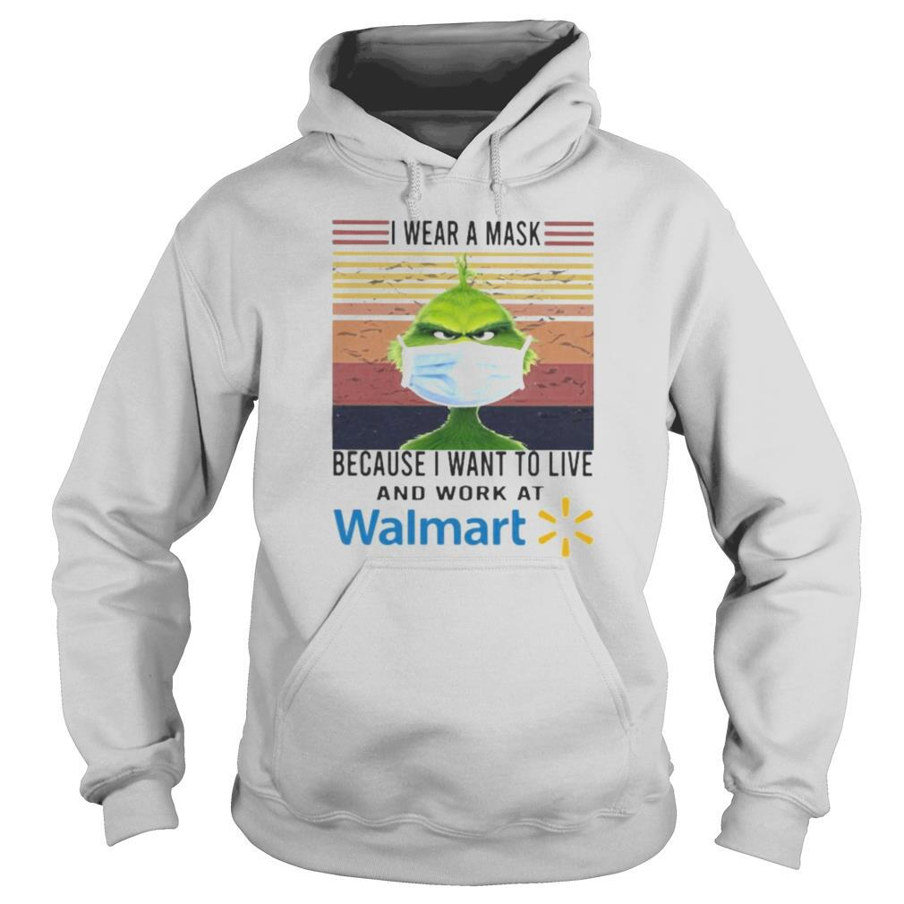 Grinch i wear a mask because i want to live and work at walmart vintage retro shirt