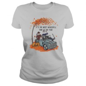 Halloween horror characters riding car it's the most wonderful time of the year leaves tree shirt