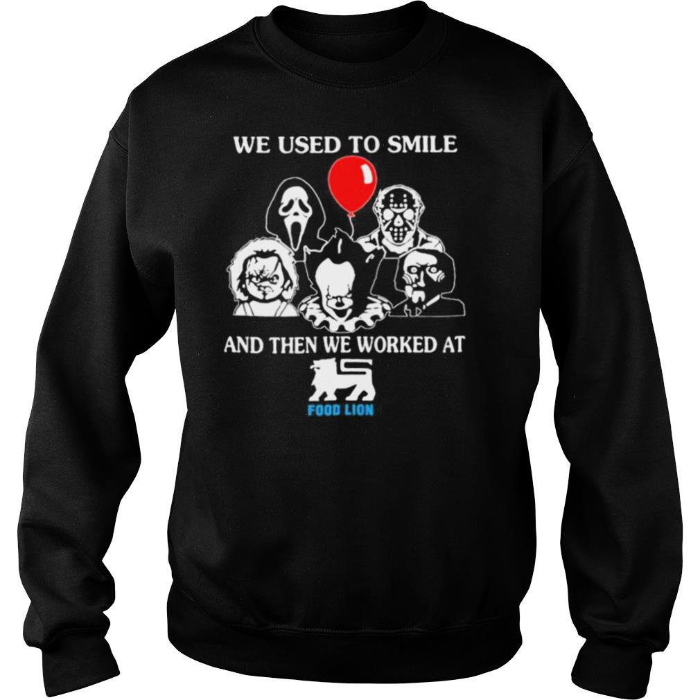 Halloween horror characters we used to smile and then we worked at food lion shirt
