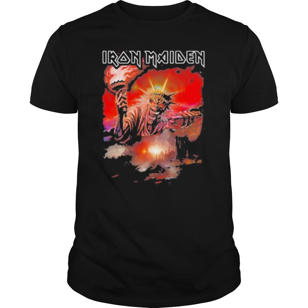 Iron maiden band skeleton the statue of liberty shirt