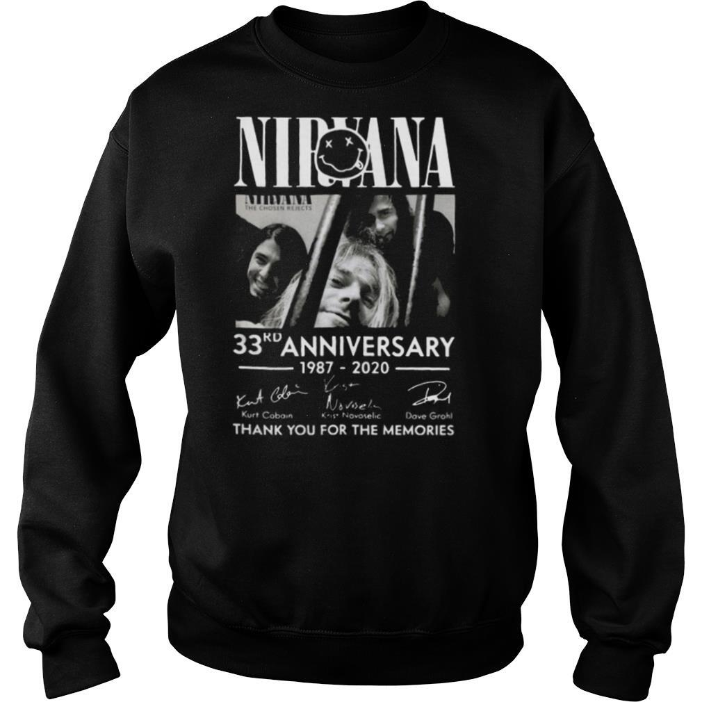 The Nirvana 33rd Anniversary 1987 2020 Thank You For The Memories Signatures shirt