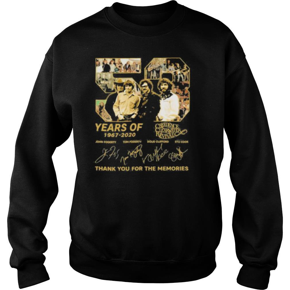 53 years of 1967 2020 creedence clearwater revival thank for the memories signatures shirt