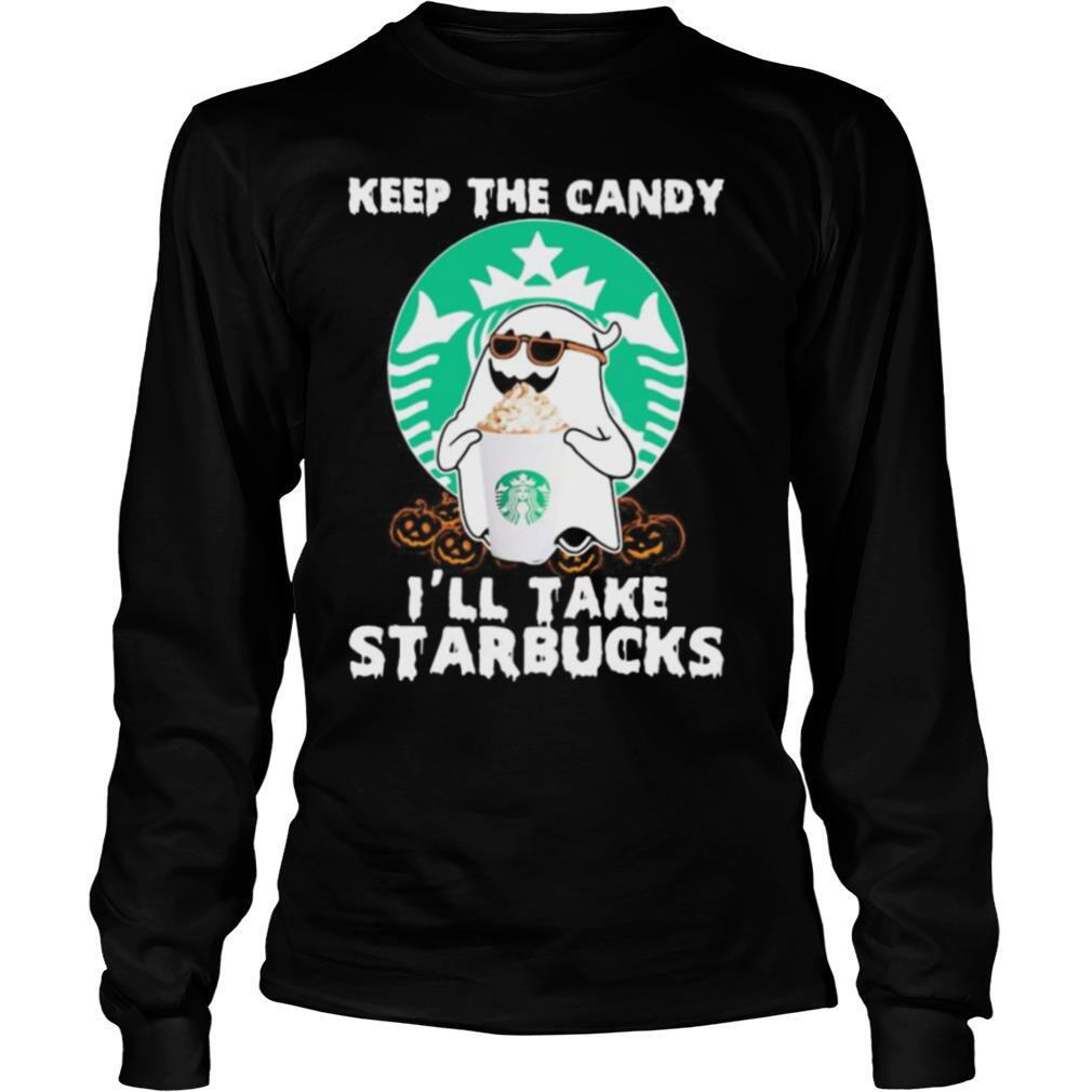 Halloween ghost keep the candy i'll take starbucks shirt