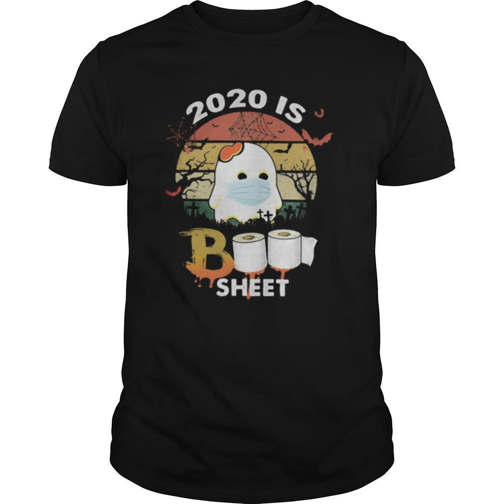 Halloween ghost mask 2020 is boo sheet toilet paper vintage retro shirt