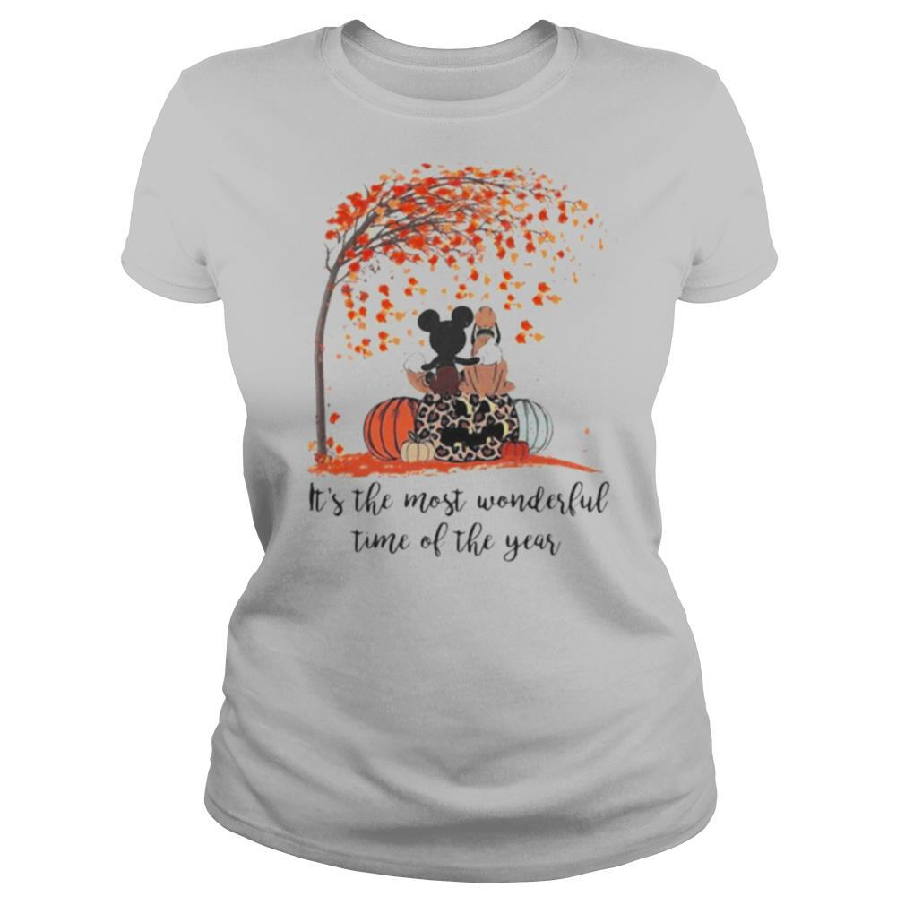 Mickey mouse and pluto it's the most wonderful time of the year leaves tree pumpkins leopard shirt