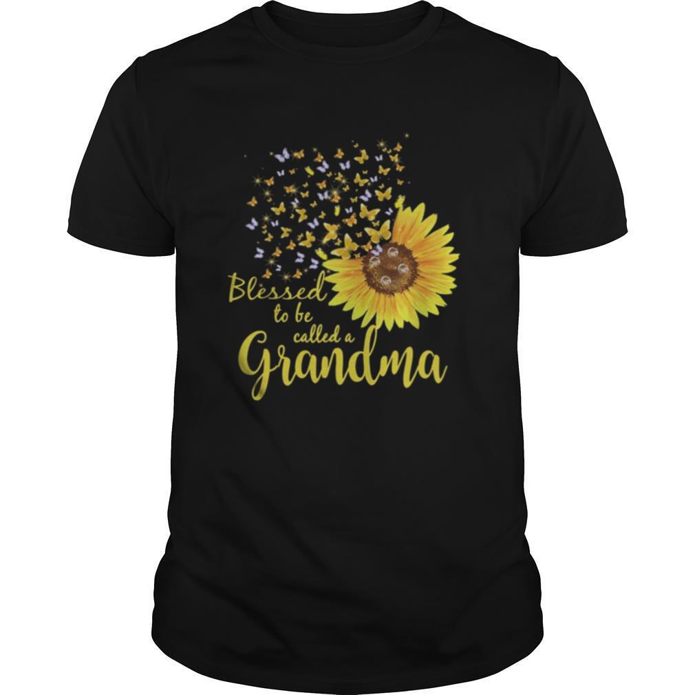 Sunflower butterfly blessed to be called a grandma shirt