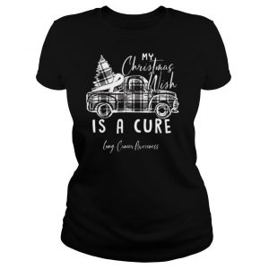 My Christmas Wish Is A Cure Lung Cancer Awareness Pine Ribbon Lung Cancer Awareness shirt
