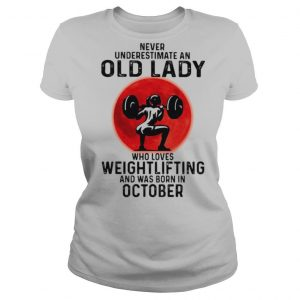 Never underestimate an old lady who loves weightlifting and was born in september moon blood halloween shirt