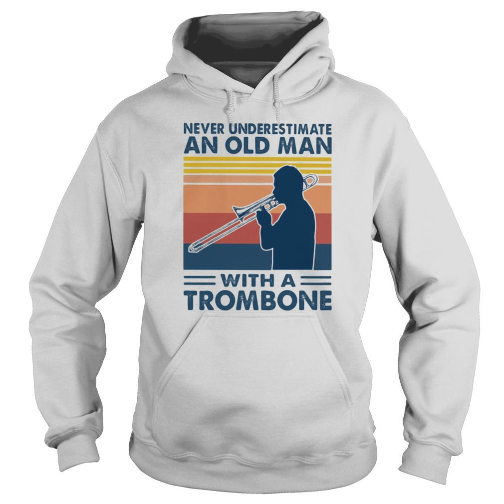 Never underestimate an old man with a trombone vintage shirt