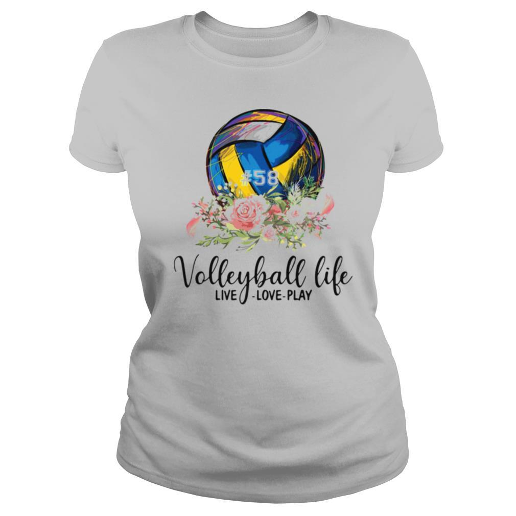 #58 volleyball life live love play floral shirt
