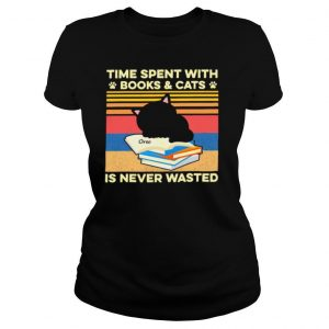 Cat time spent with books and cats is never wasted vintage shirt