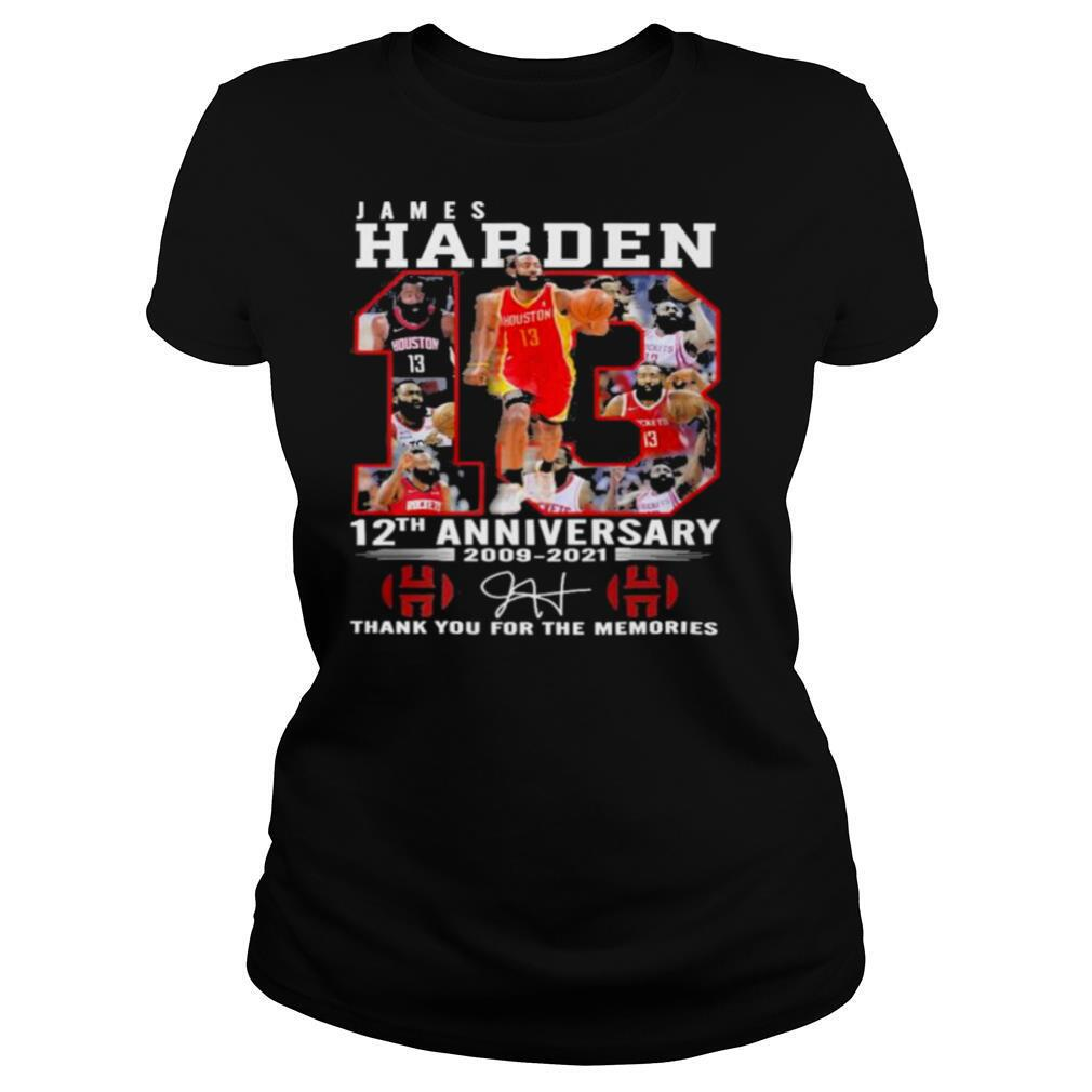 James harden 12th anniversary 2009 2021 thank you for the memories shirt