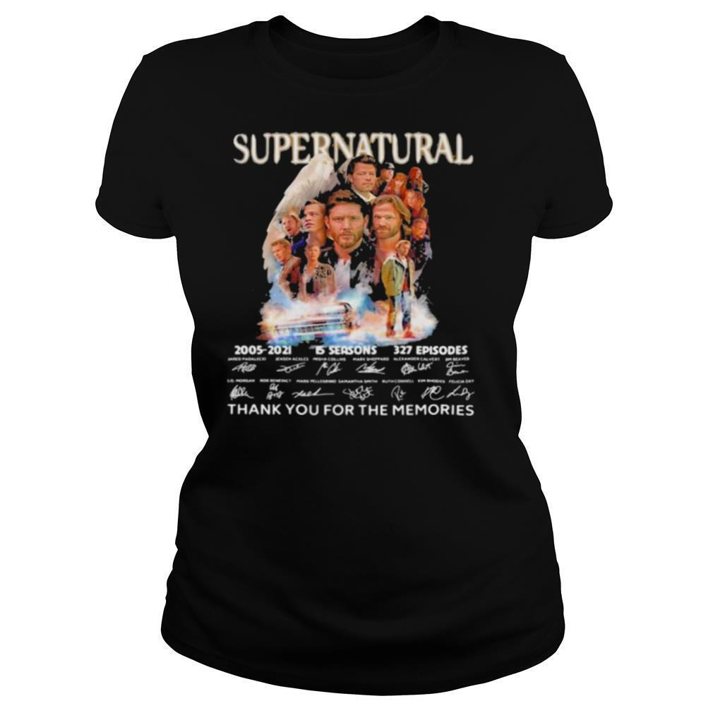 Supernatural 15 Seasons 2005 2021 16 Years Of Thank You For The Memories Signature shirt