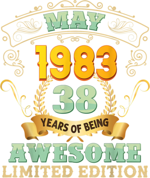 May 1983 38 Years Of Being Awesome 38th Birthday Vintage T Shirt