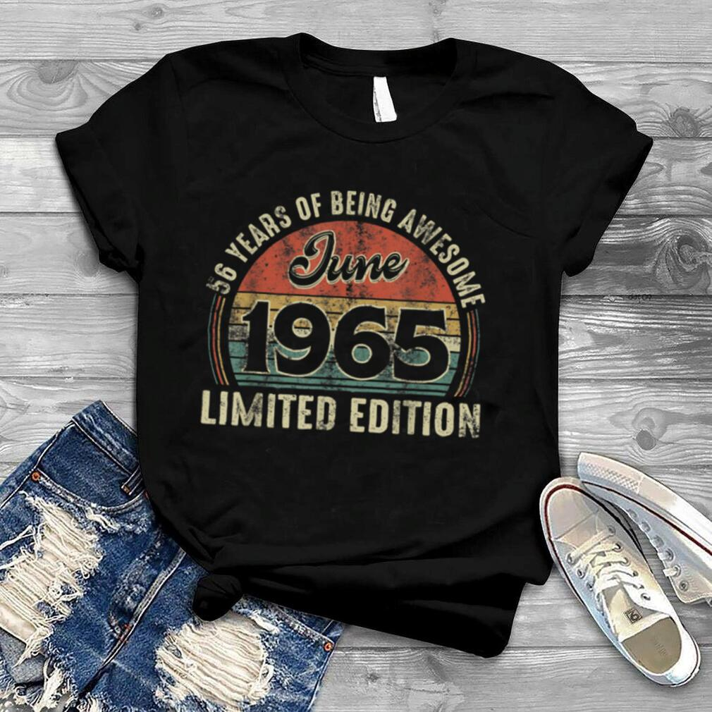 Vintage June 1965 Distressed 56 Year Old Retro 56th Bday T Shirt