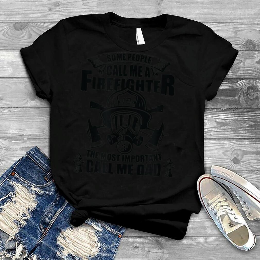 Mens Firefighter Dad Son T Daddy Father's Day Christmas T Shirt