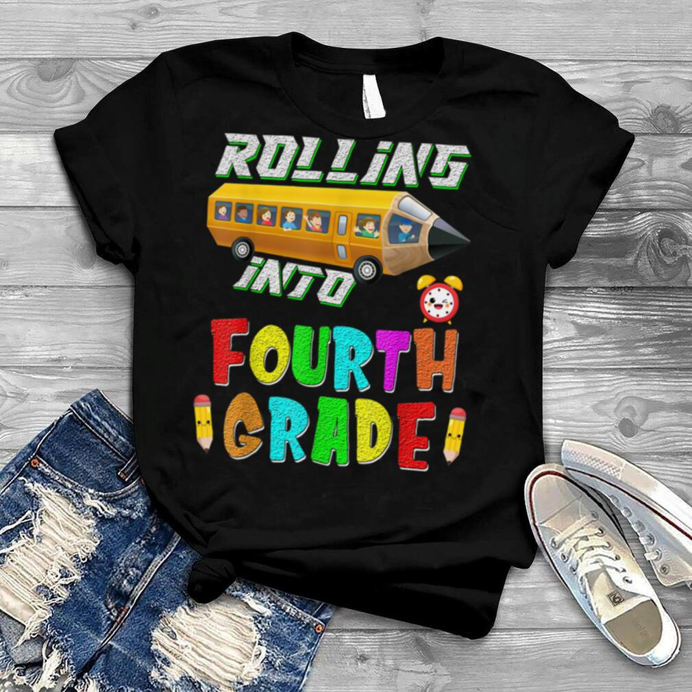 Back To School School Bus Fourth Grade First Day of School T Shirt