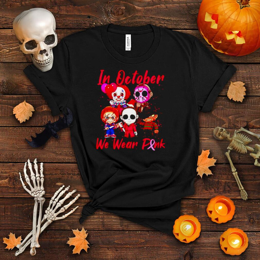 Horror Halloween in October we wear pink Breast Cancer shirt